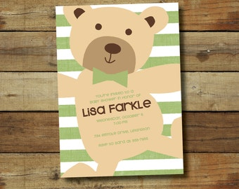 teddy bear baby shower invitation or birthday party invitation . . . sweet teddy bear