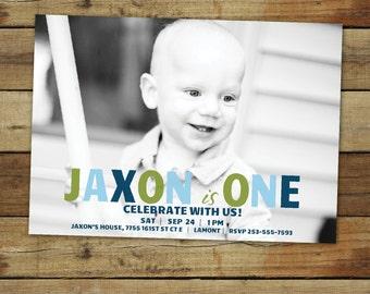 First birthday boy birthday party invitation photo card, boy birthday photo card, birthday boy photo card in custom colors