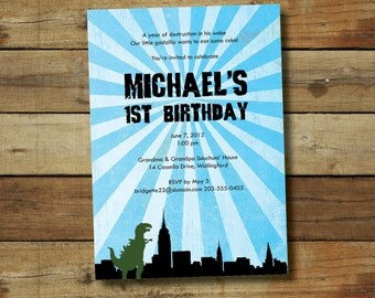 godzilla birthday invitation, godzilla birthday party, godzilla printable, godzilla birthday party