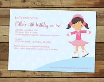 ice skating birthday invitation, skating party invitation, skating birthday party, custom skating invitation