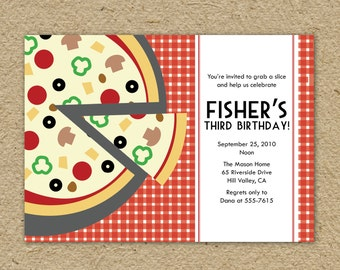 Pizza party birthday party invitation - pizza themed birthday party - pizzeria birthday - make your own pizza - custom colors and text