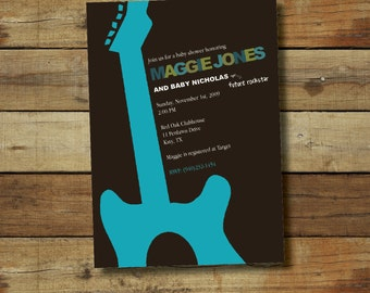 rock and roll baby shower invitation - boy or girl, guitar baby shower invitation, baby shower printable invitation