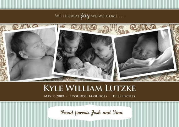 A cute birth announcement in blue and brown - Kyle