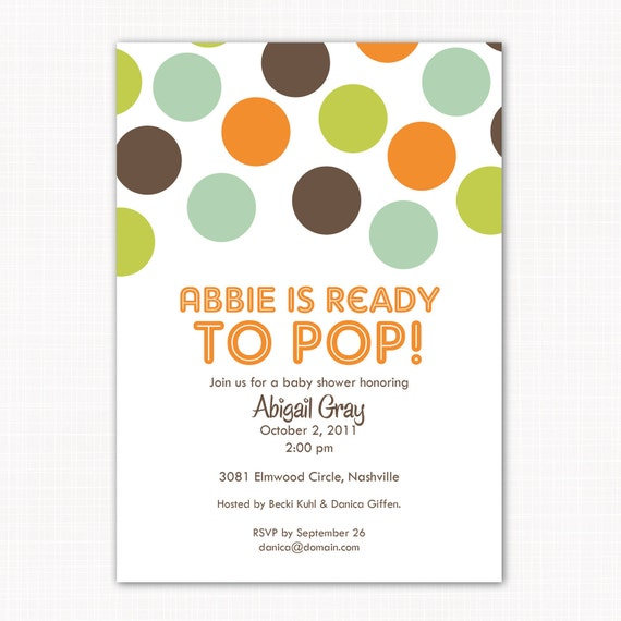 ready to pop baby shower or birthday party invitation baby boy or