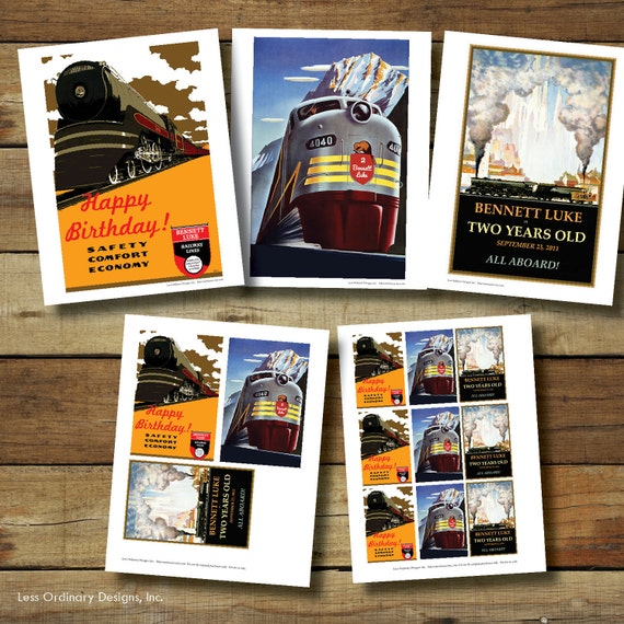 Vintage train posters train birthday party signs and for Vintage train posters