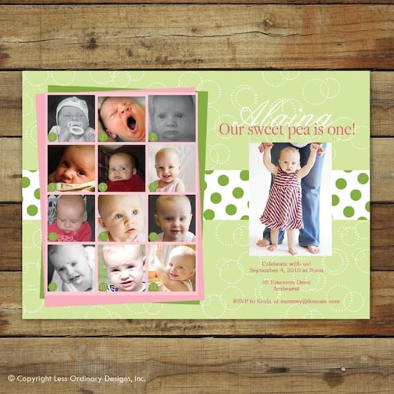 sweet pea birthday invitation, first birthday party invitation, first birthday photo collage - sweet pea