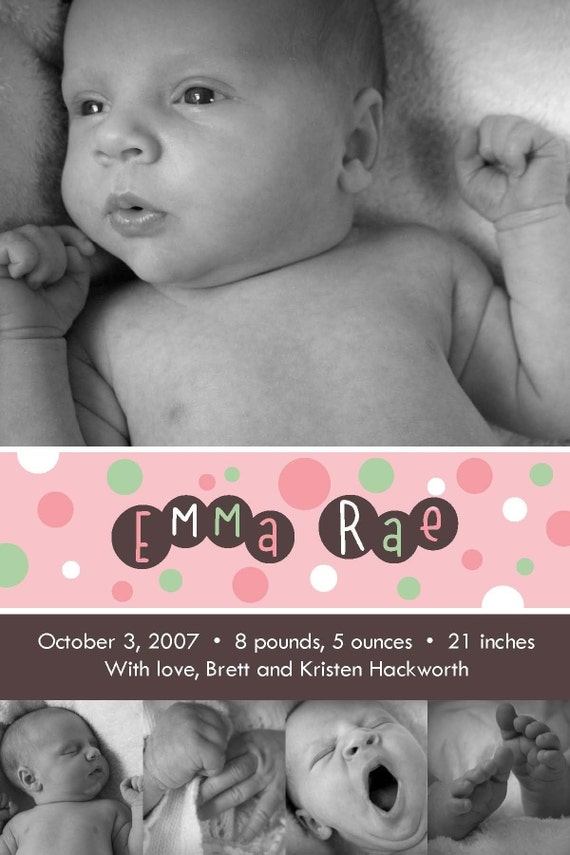 GIrly Bubbles - Custom photo Baby \/ Birth Announcement Cards