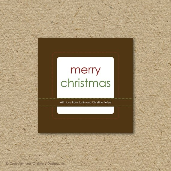Personalized printable Christmas gift tags, stitched, editable instant download