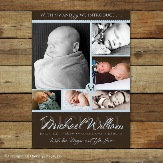 baby boy birth announcement and collage