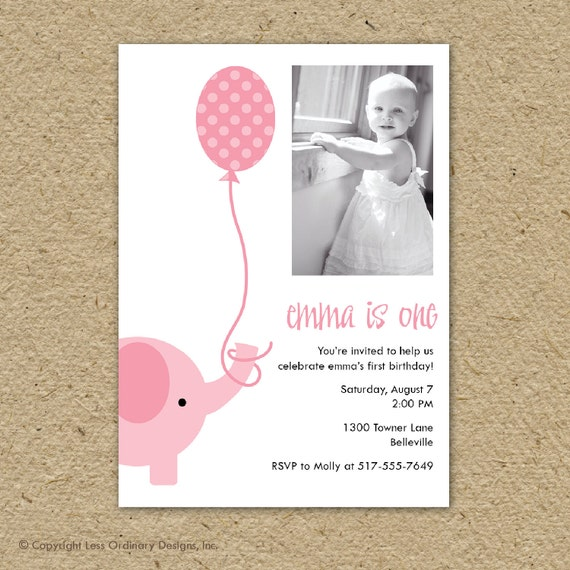 pink elephant birthday party invitation with photo - party elephant party invitation, birthday party photo invitation, photo card