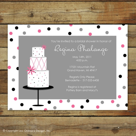 Wedding Cake Bridal Shower Invitation In Pink By