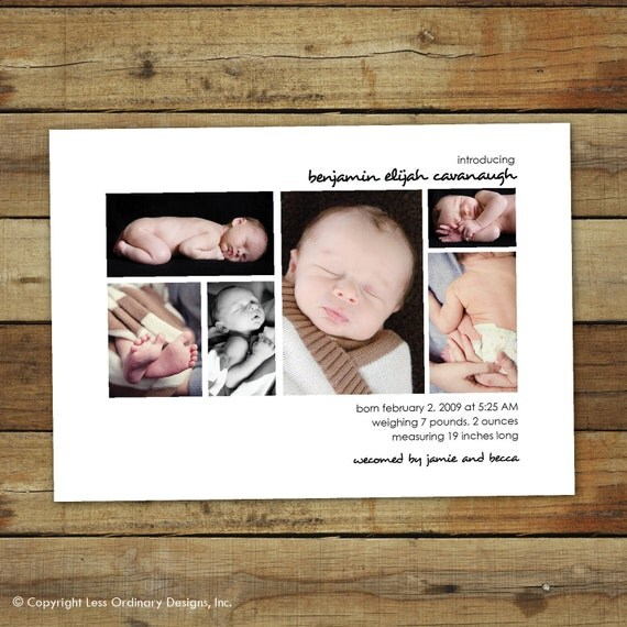 photo collage birth announcement for your baby . . . completely customizable