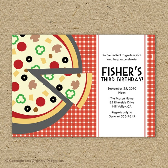 pizza party birthday party invitation pizza themed birthday, Party invitations