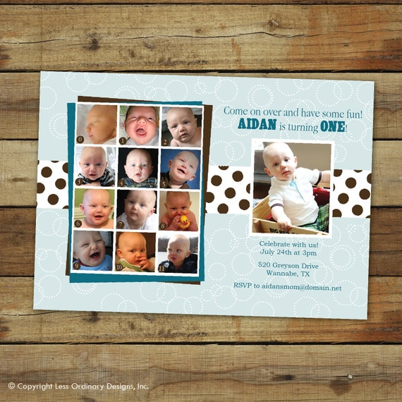 sweet pea birthday party invitation, sweet pea birthday party, first birthday photo collage