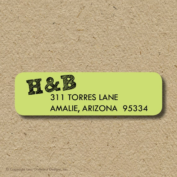 Return address labels with initials, monogrammed self-adhesive return address stickers for people moving in together - any colors