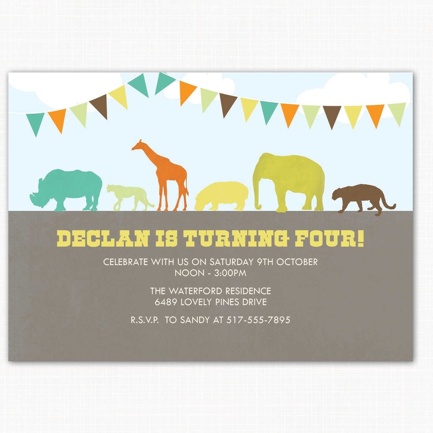 zoo birthday party invitation perfect for zoo jungle or