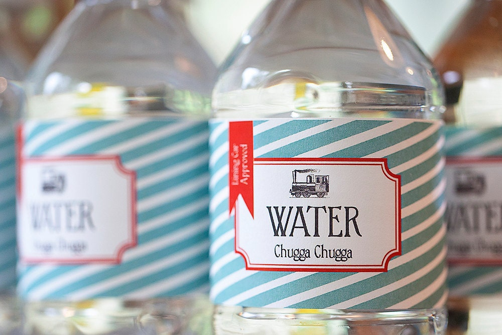 Vintage Train Water Bottle Labels, Birthday Party Printable