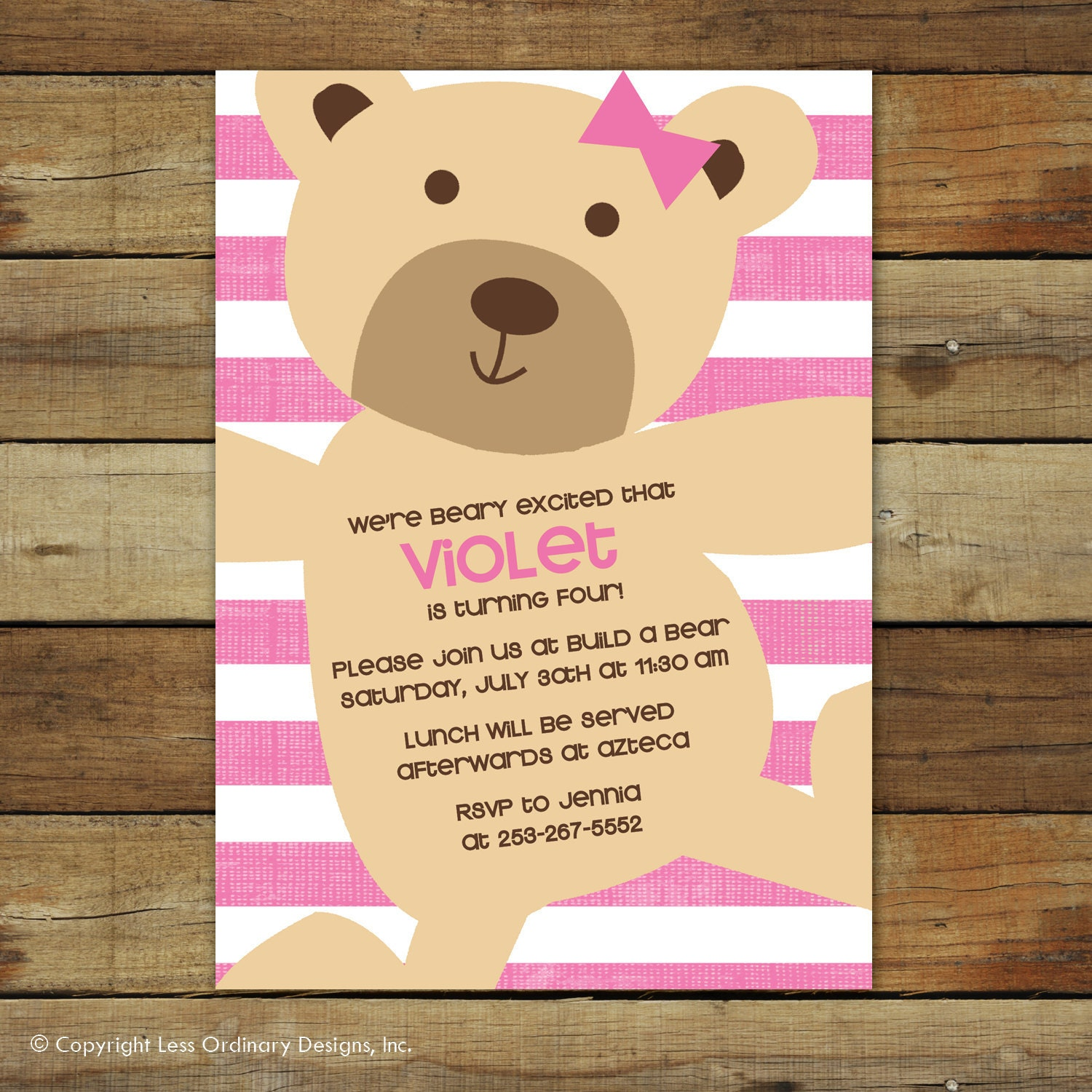 teddy bear birthday invitation pink stripes teddy bear