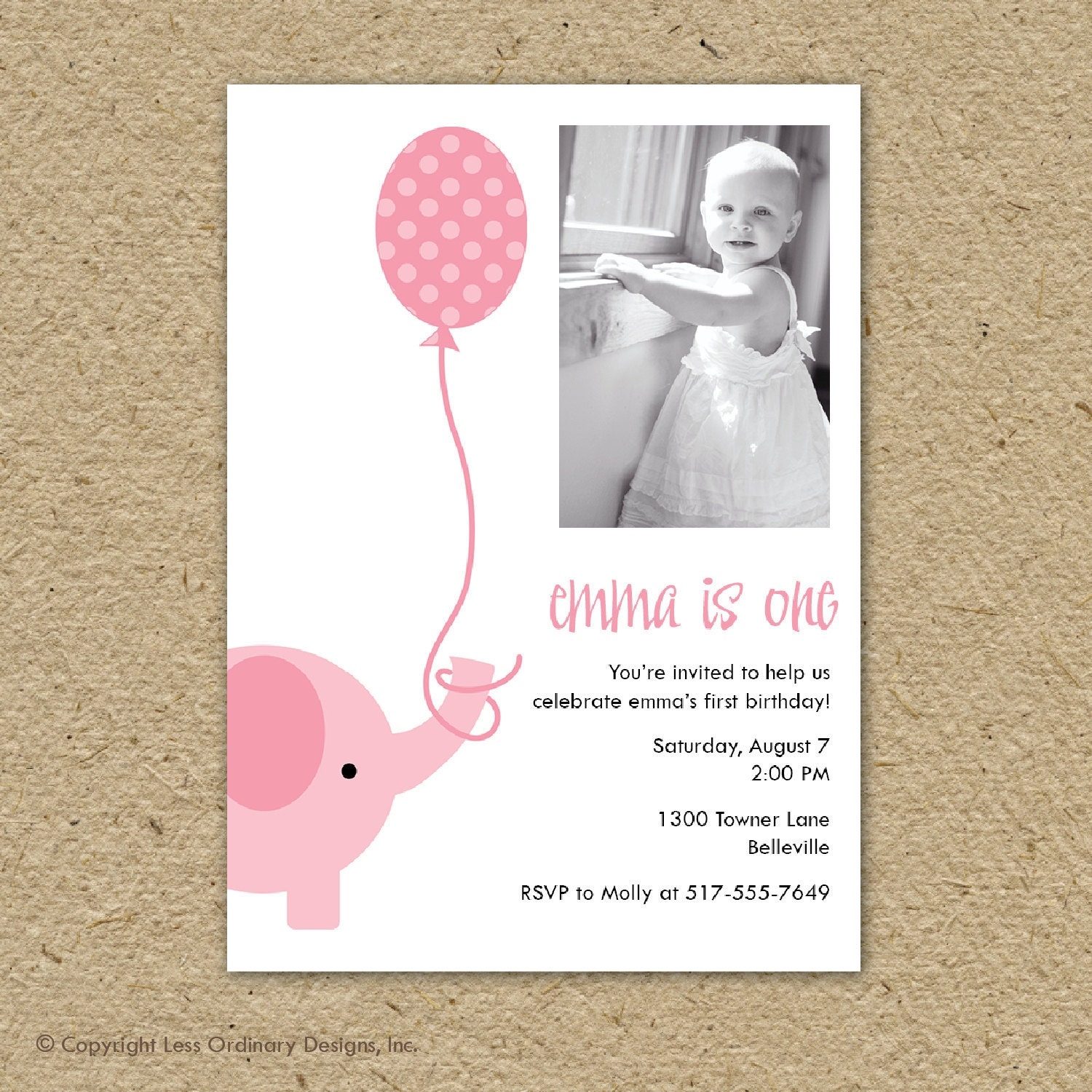 pink elephant birthday party invitation with photo party – Elephant Party Invitations