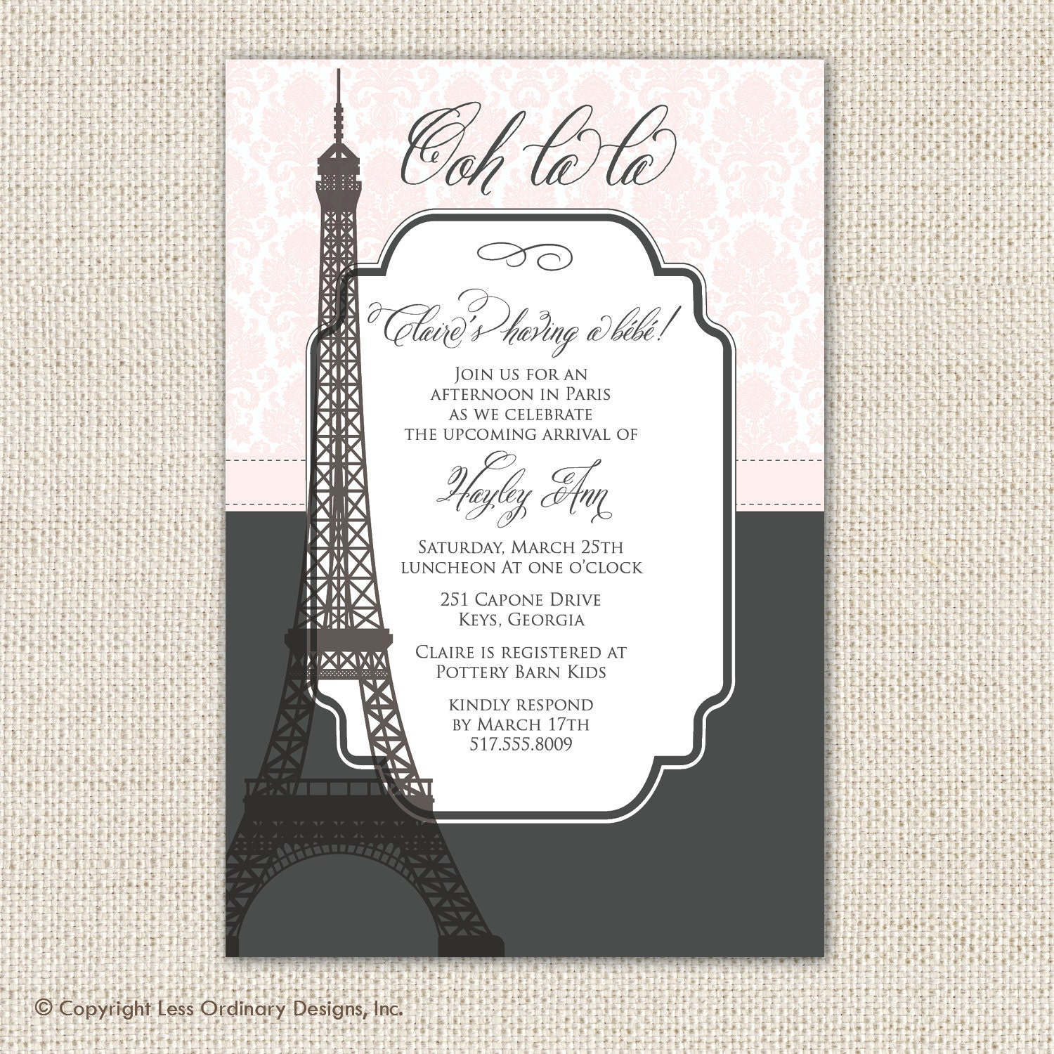 Paris baby shower invitation Eiffel tower paris themed baby