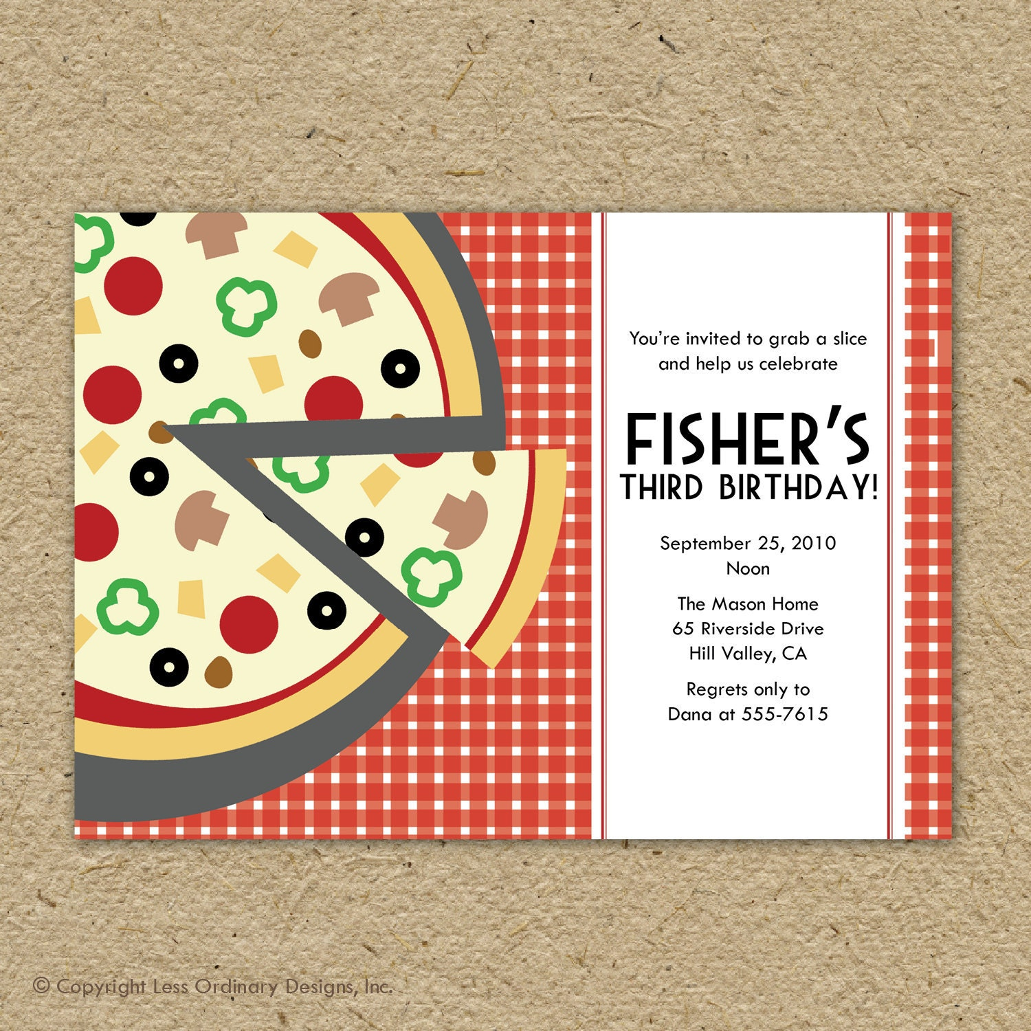 Pizza party birthday party invitation pizza themed birthday – Create Your Own Party Invitations Free
