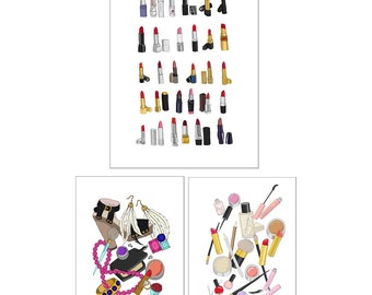 Make-Up Lover Fashion Illustration Art Poster Set