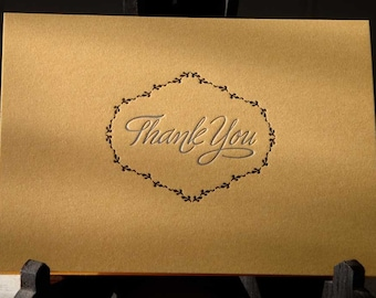 Silver and gold letterpress thank you notecards, set of 6
