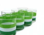 Georges Briard Low Tumblers - Lime Stripes - Set of 8