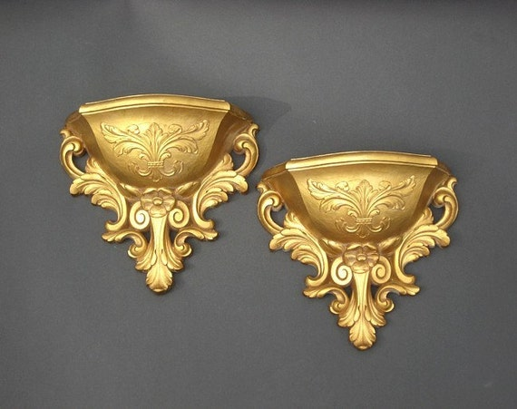 Vintage Homco Wall Pockets - Hollywood Regency Ornate Gold Pair