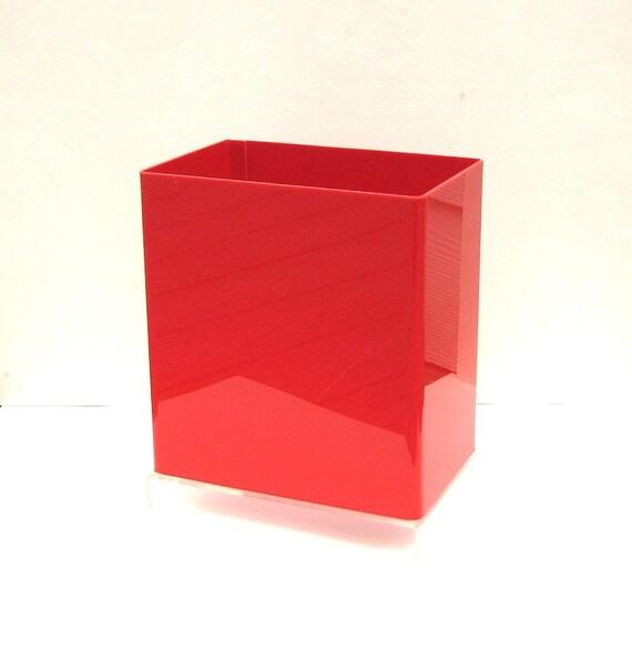 Reserved vintage modern red lucite wastebasket - Rd wastebasket ...