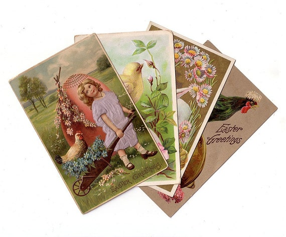 Antique Easter Postcards - 1909 thru 1911 - Group 7