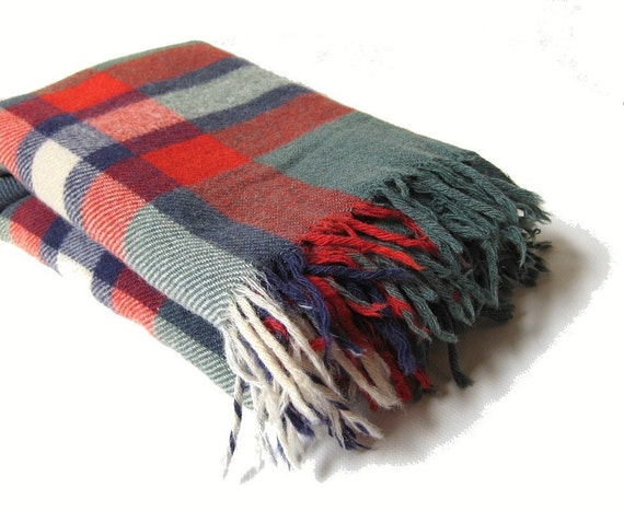 Vintage Plaid Wool Throw - Troy Robe - Red & Green