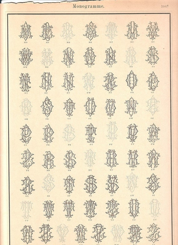 1884 Antique Color Monograms Page M - Z Letter Style Ephemera - Plate 104e