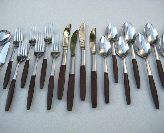 Mid Century Rosewood Interpur Royal Elegance Flatware - 20 Pieces