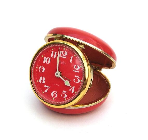 Vintage Travel Alarm Clock by Linden - Bright Orange
