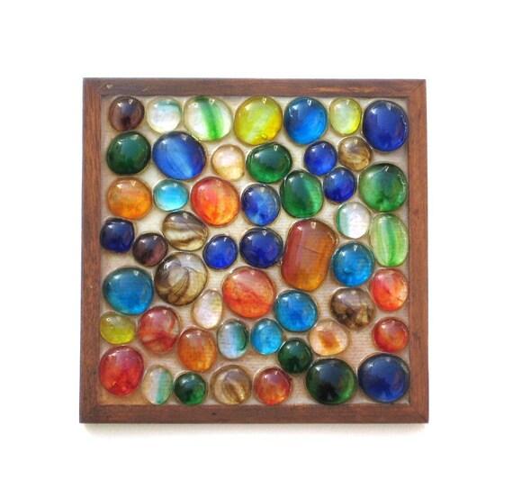 RESERVED - Vintage Trivet - Colorful Glass Pebbles - Teak Frame