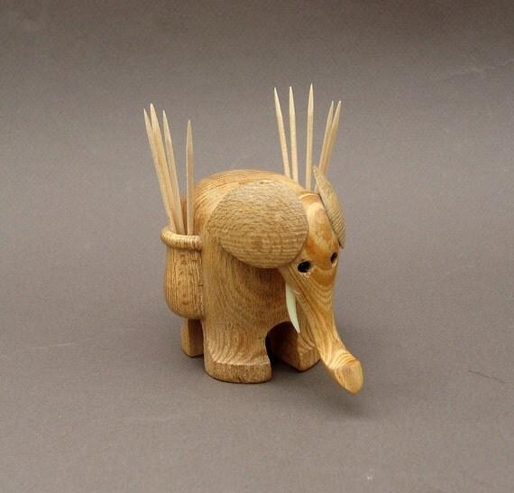 Elephant toothpick holder mid century modern wooden - Wooden pocket toothpick holder ...