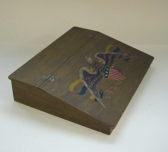Lap desk 1950s vintage hinged wooden stationary box hand - Wood lap desk with storage ...