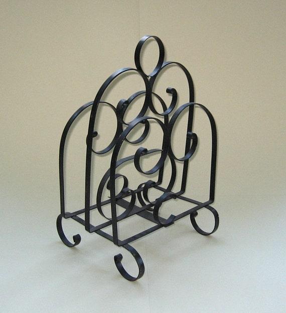 Magazine Rack - Vintage Ornamental Metal with Scroll  Design