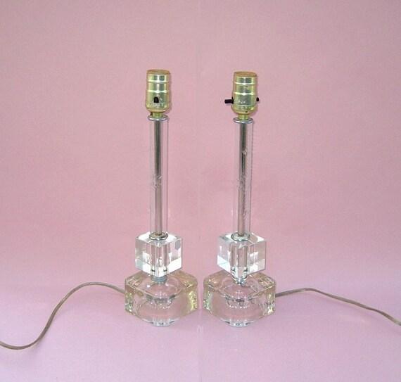 Crystal Candlestick Lamps Elegant Vintage Pair