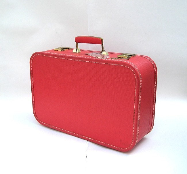 Vintage Red Suitcase Lady Baltimore Luggage With Key