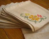 set of 10 vintage linen cross stitch napkins