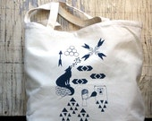 screen printed tote bag market shopper bear and wolf LAST ONE