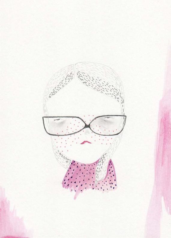 drawing original illustration girl glasses- so i may see/ typhoon haiyan/yolanda relief