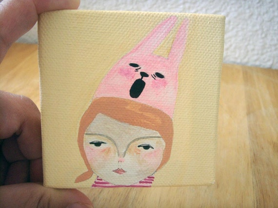 original small painting canvas-mad bunny