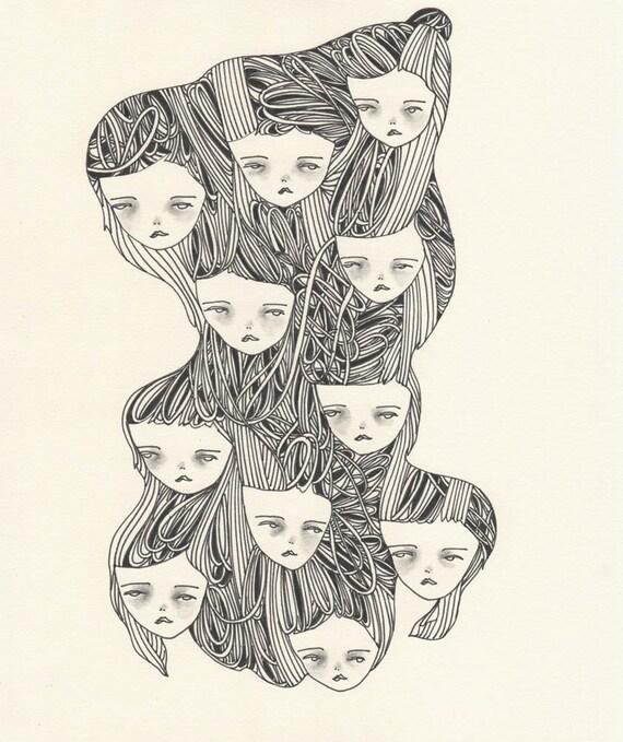 original drawing illustration- eleven girls