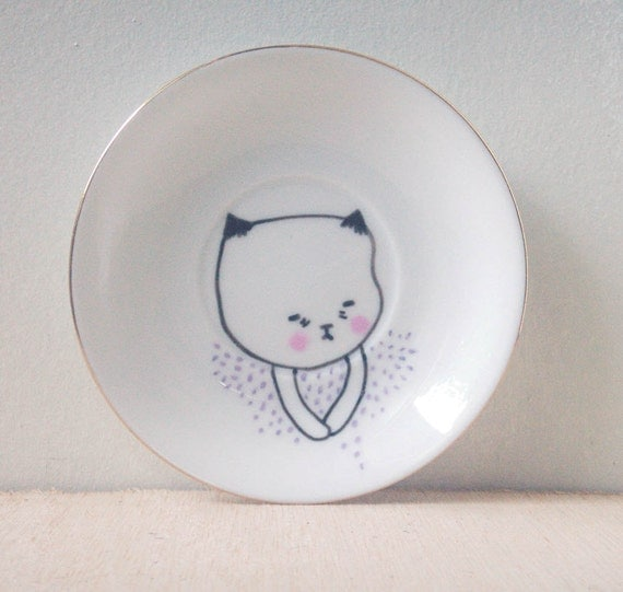 small hand painted plate- original drawing illustration