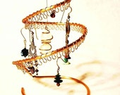 Small copper earring holder / display / organizer / tree / stand