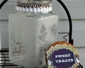 Sweet treats - glass etched cookie jar - On Sale!!!