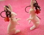 White Bunnies in Gunmetal Earrings